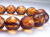 12mm Czech Glass Picasso Beads Amber with Red Picasso Faceted Round Beads 8 Pcs. R-421 - Royal Metals Jewelry Supply