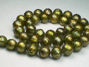 Faceted Pearls 9.5mm Green Gold Freshwater Pearls 12 pcs.