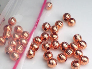 4.7mm Lined Copper Round Spacer Beads Genuine Copper Bead 50 pcs. GC-306 - Royal Metals Jewelry Supply