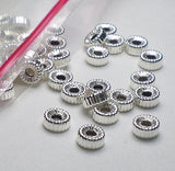 4.3mm Corrugated Tire Beads Sterling Silver Beads Sterling Silver Tire Beads 10 pcs. S-151 - Royal Metals Jewelry Supply