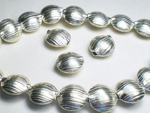 12mm Puffed Coin Beads Karen Hill Tribe Fine Silver 3 pcs.  HT-242 - Royal Metals Jewelry Supply