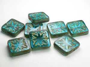 15mm Aqua Carved Square Beads Picasso Czech Glass Beads 8 Pcs. S-356 - Royal Metals Jewelry Supply