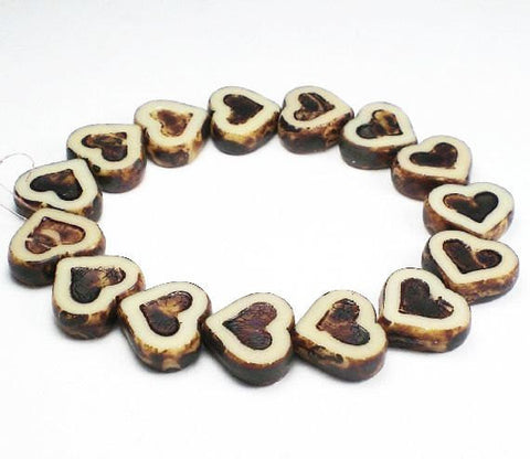 Czech Glass Beads Ivory with Brown Picasso Carved Heart Beads 6 Pcs. H-374