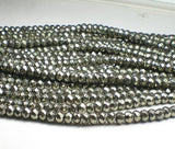 6mm Faceted Pyrite Rondelle Beads Pyrite Beads Half Strand or Full Strand - Royal Metals Jewelry Supply