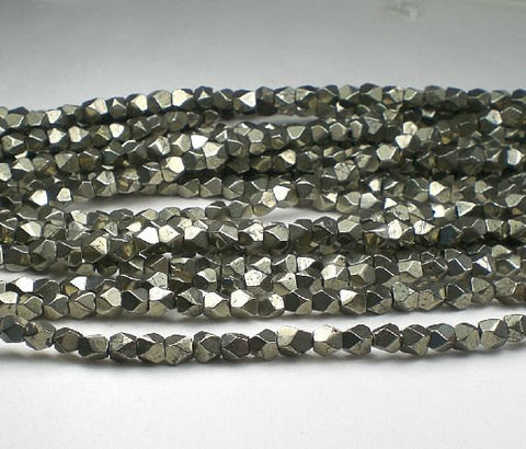 Faceted Pyrite Nugget Beads 5mm Pyrite Beads 30 pcs. PYN5