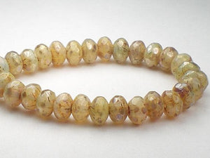 5mm Beige Champagne Czech Glass Faceted Rondelle Beads with Picasso 30 pcs. 171 - Royal Metals Jewelry Supply