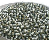 Grey TOHO Round 8/0 Japanese Seed Beads Grey Silver Lined Frosted 15 grams T150-8