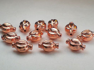 12mm Solid Copper Fluted Beads Copper Beads 12 pcs. GC-332 - Royal Metals Jewelry Supply
