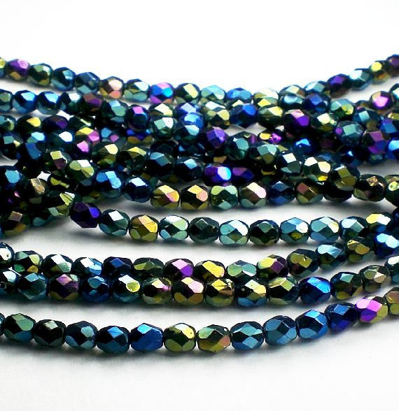 100pcs Luster Round Faceted Fire Polished Spacer Czech Glass Beads 4mm
