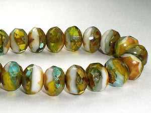 6x8mm Picasso Czech Glass Beads Faceted Rondelles Green, White Aqua and Yellow with Amber Picasso 10 Pcs. 285 - Royal Metals Jewelry Supply