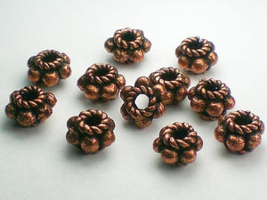10mm Genuine Copper Beads Solid Copper Spacer Beads Large Hole Bead 8 pcs. GC-345 - Royal Metals Jewelry Supply