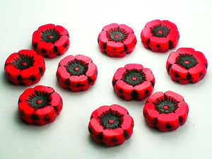 12mm Poppy Red Carved Flower Picasso Czech Glass Beads with Black Finish 10 pcs. F-1145 - Royal Metals Jewelry Supply