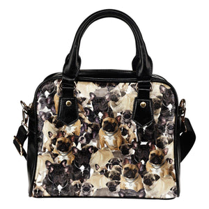 french bulldog  leather bag