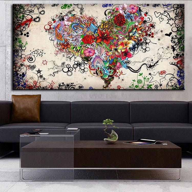 HOT DP ARTISAN Modern Wall Art Heart Flowers Oil Painting Prints Painting  On Canvas No Frame Pictures Decor For Living Room