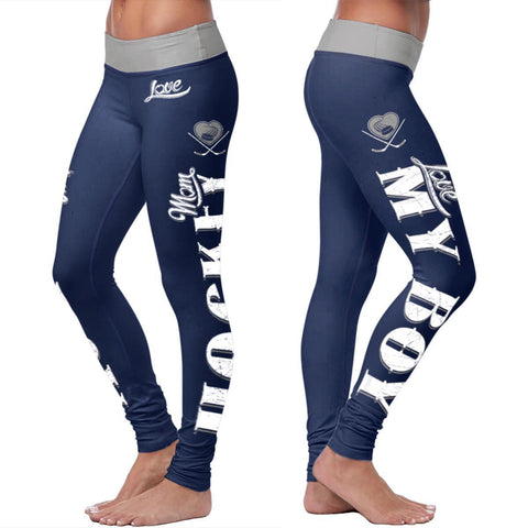 Blue Hockey Mom Leggings