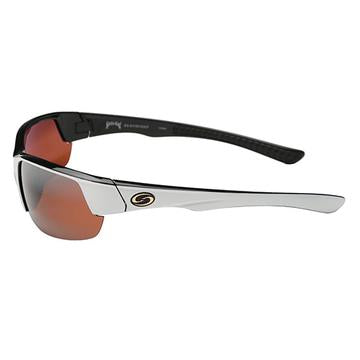 Strike King Lures S11 Optics Sunglasses Gulf Style, Shiny White/Black Two Tone Frame, Dark Amber Brown Lens