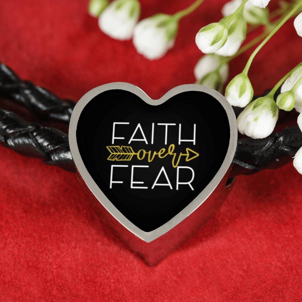 Faith Over Fear Heart Charm