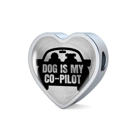 Dog is My Co-Pilot Heart Charm