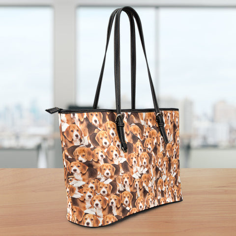 Beagles Small Leather Tote Bag