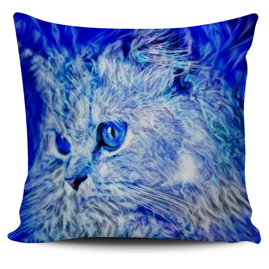 Blue Cat 3 Pillow Cover