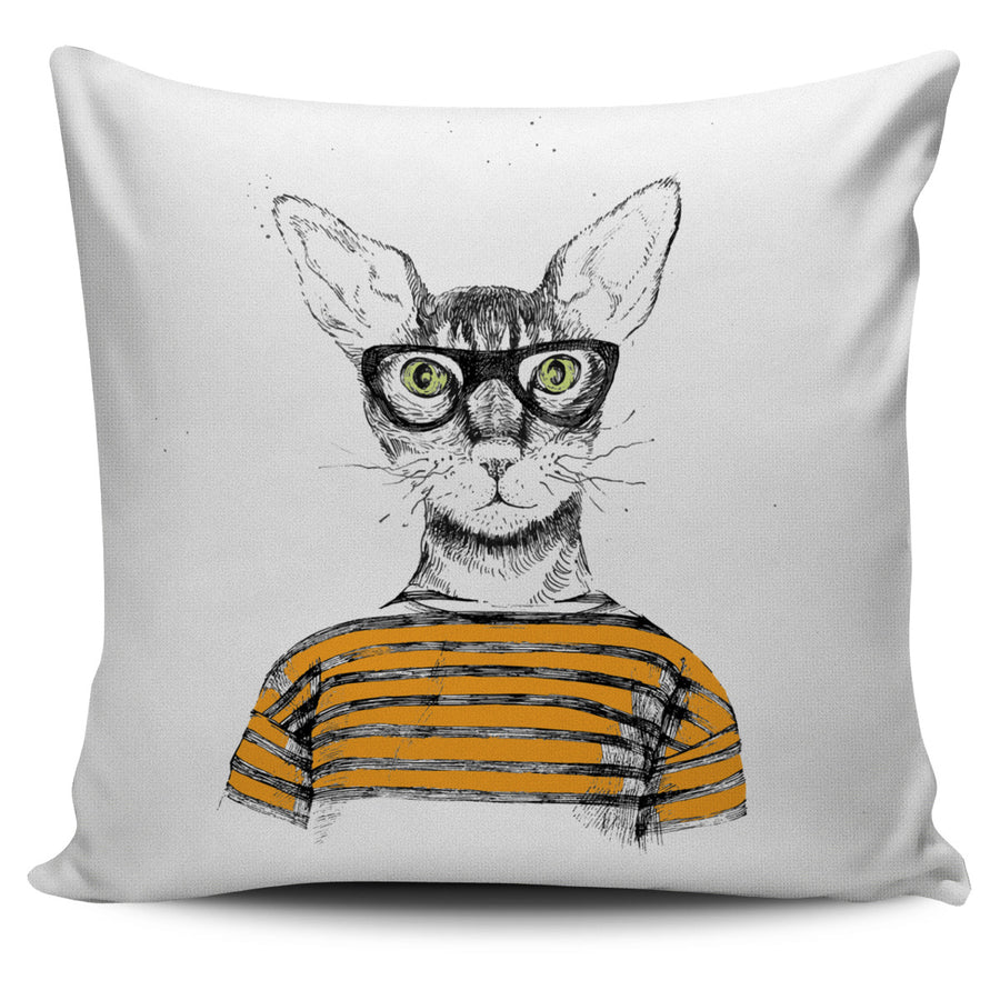 Cat with Black Glasses Pillow Cover