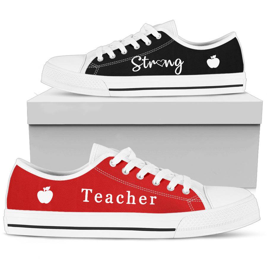 Black & Red Teacher Strong - Low Tops