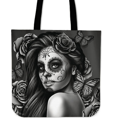Calavera - Black - Linen Tote Bag