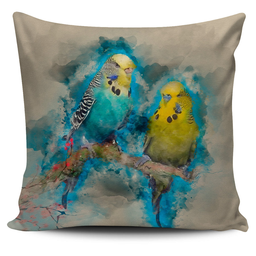 Blue & Yellow Parakeets Pillow Cover
