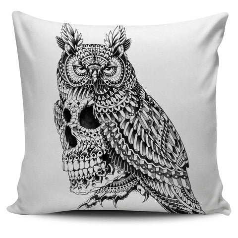 GREAT HORNED SKULL ORNATE PILLOW