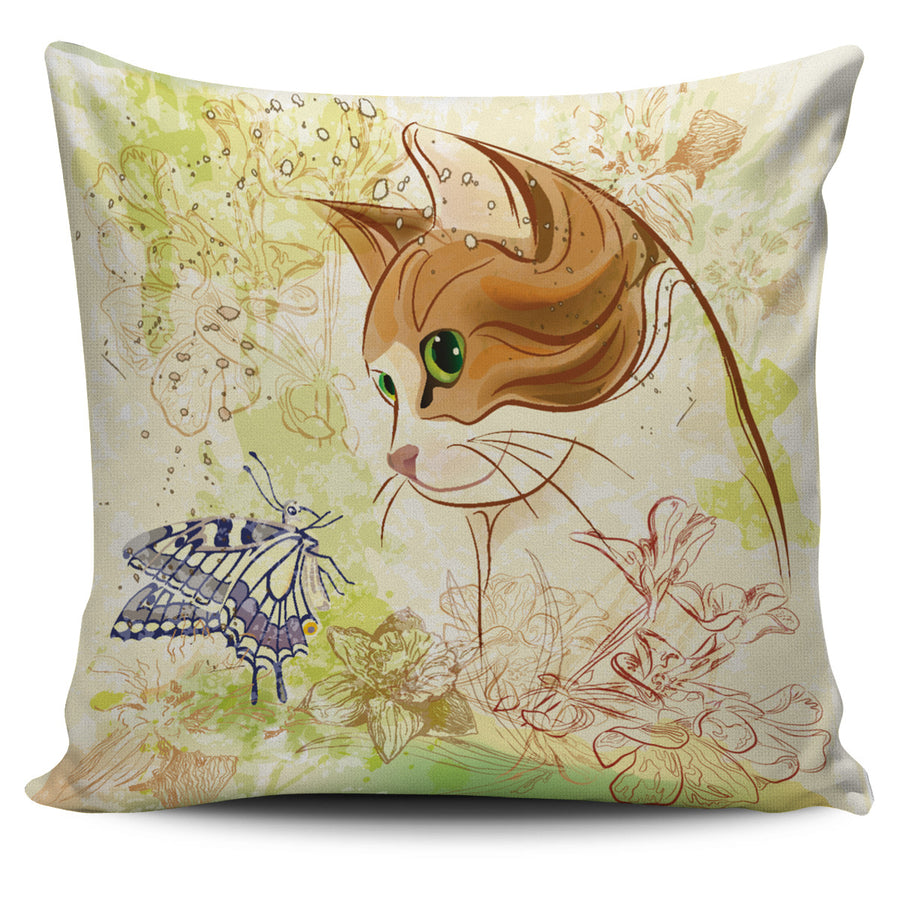 Cat and Butterfly 2 Pillow Cover