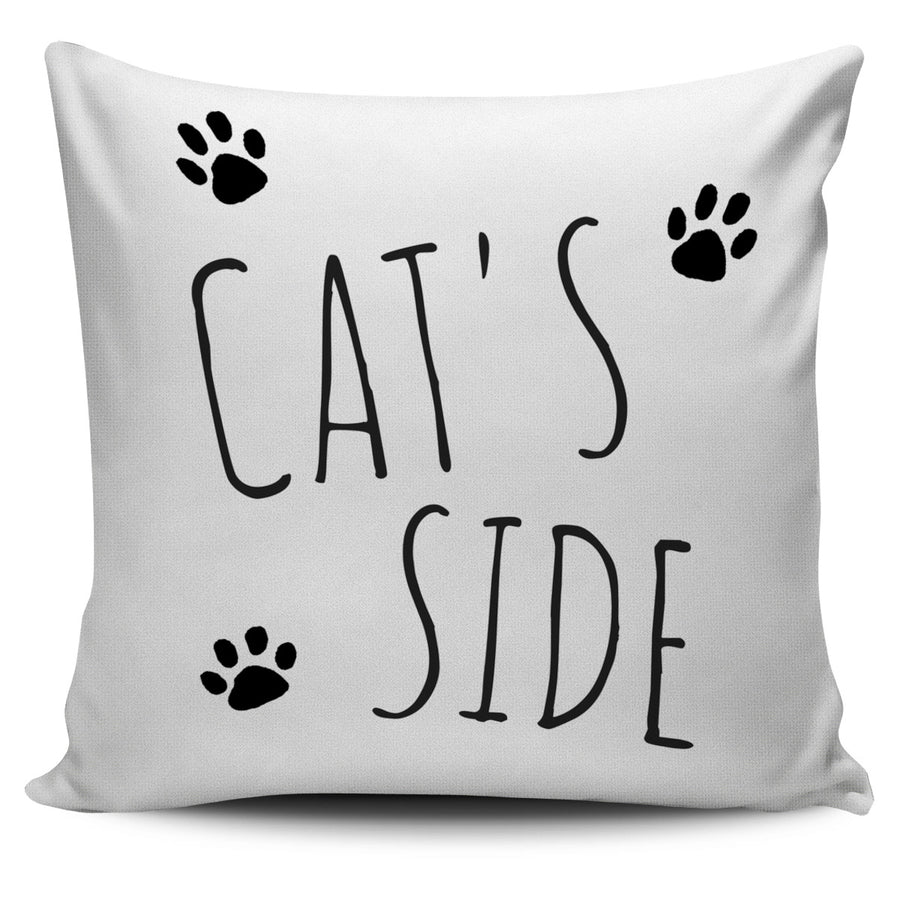 Cat's Side White Pillow Cover