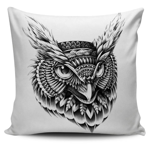 ORNATE OWL HEAD PILLOW COVER