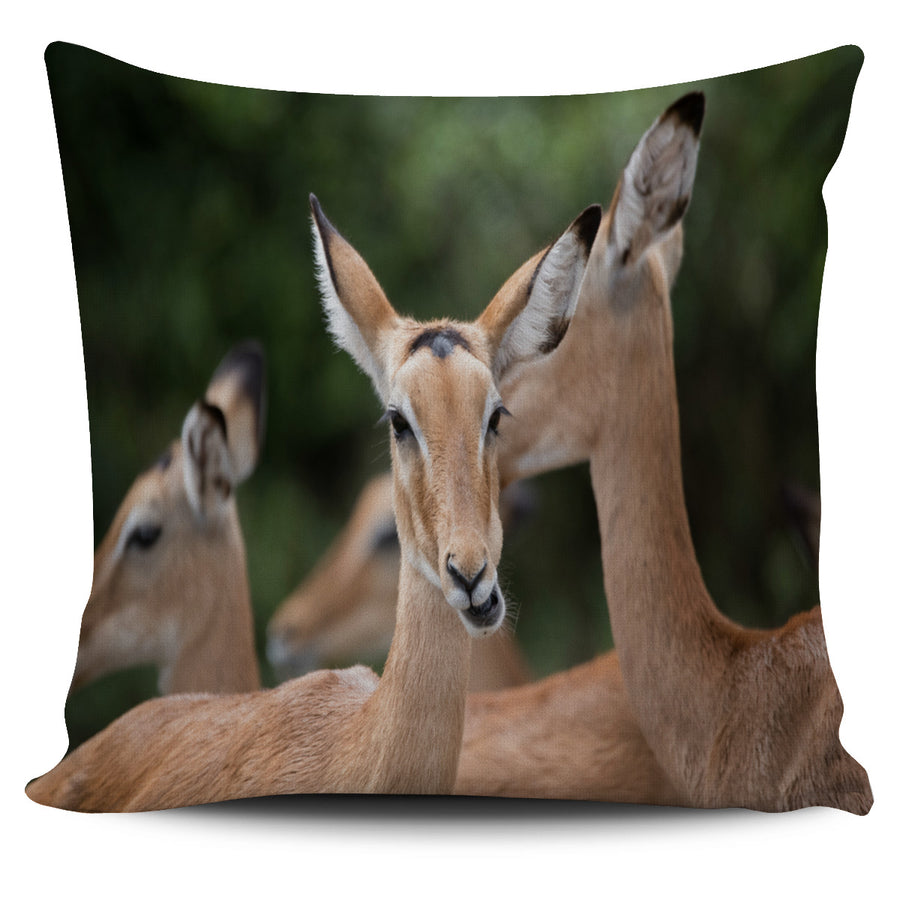 Deer Family Green Pillow Cover