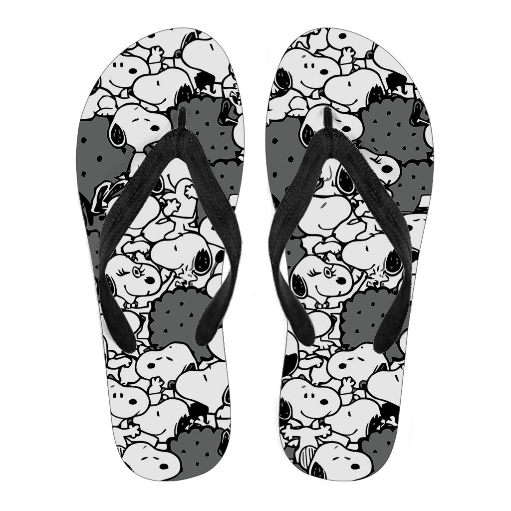 4bba0832f01 Snoopy Flip Flops Black - Luvlavie
