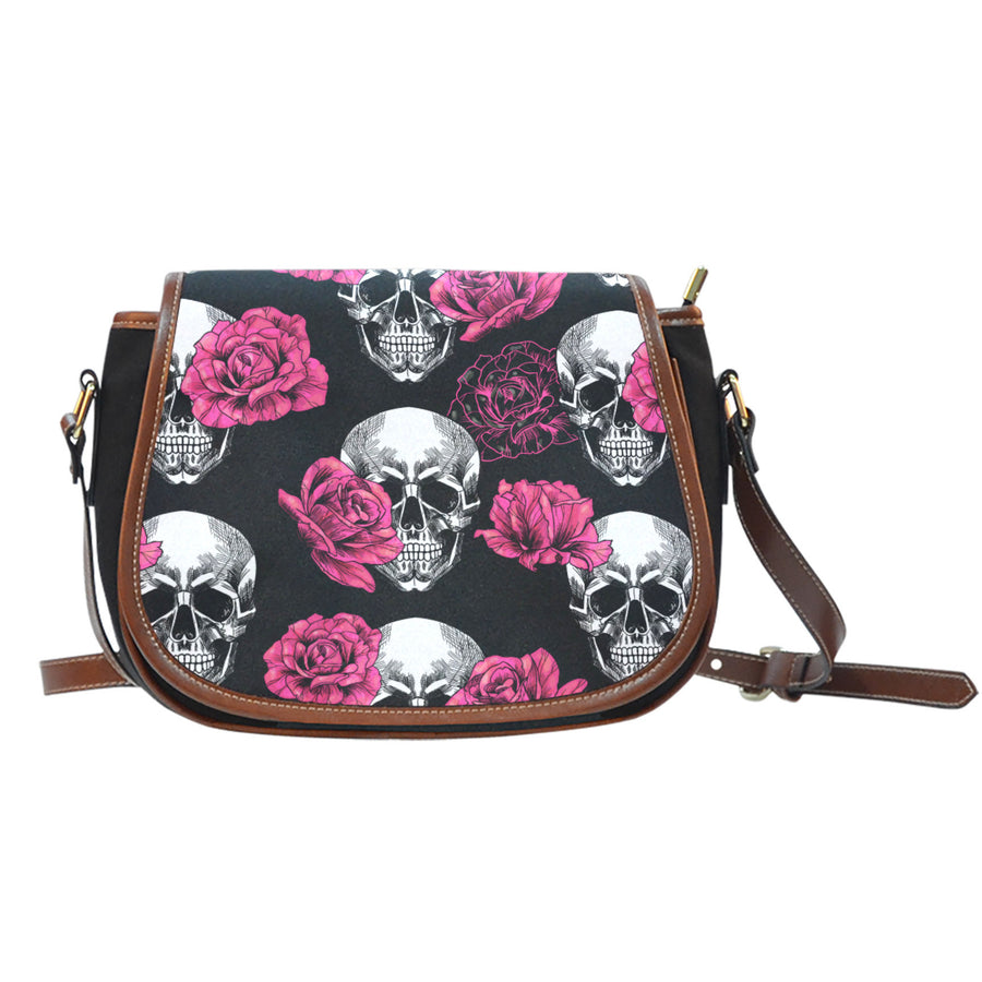 Pink Floral Skull - Saddle Bag