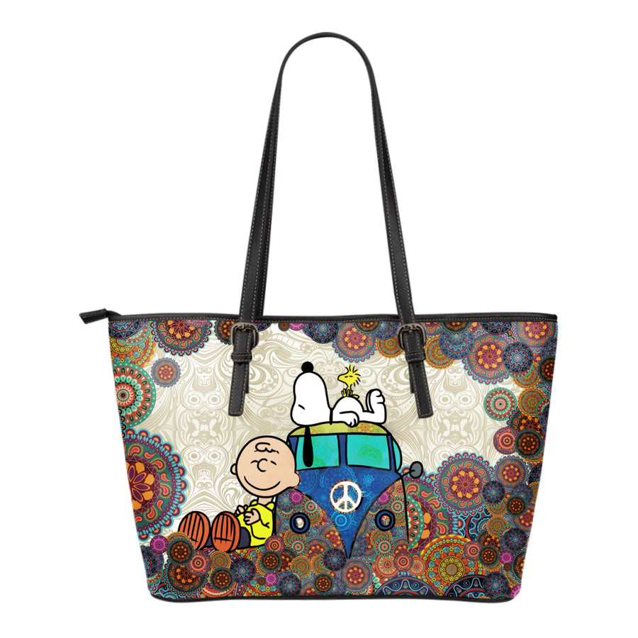 Snoopy on VW Bus Tote Bag