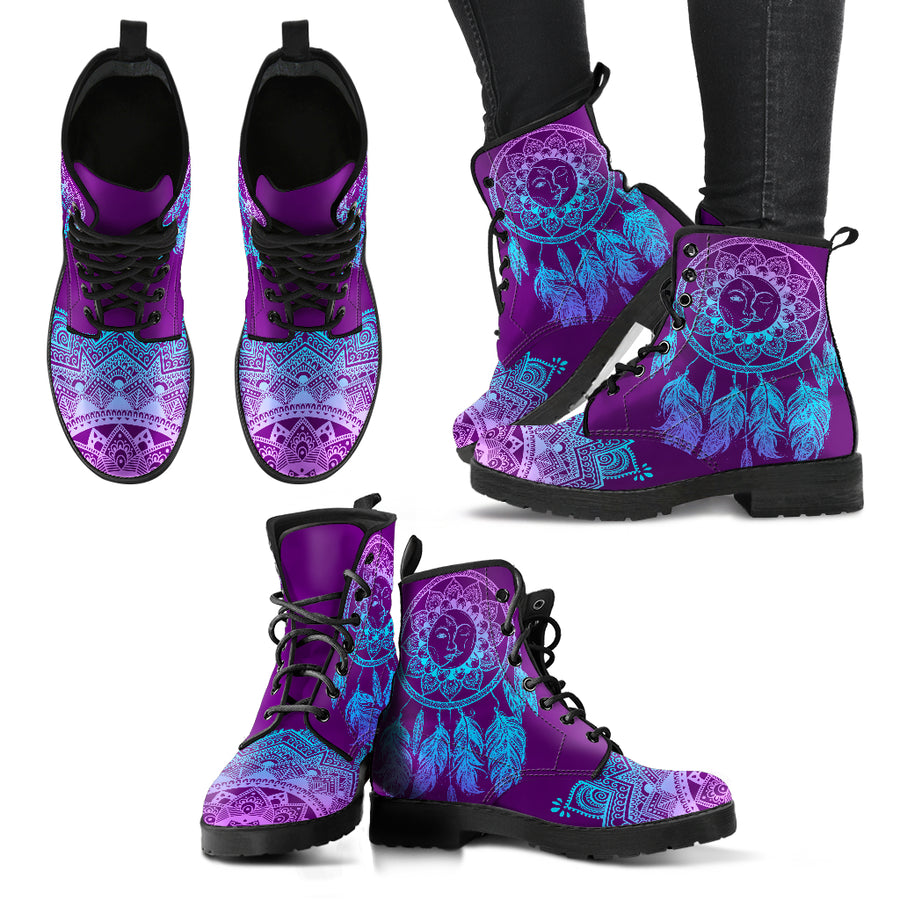 Sun and Moon Dream Catcher Women's Leather Boots
