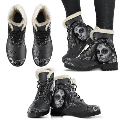 Calavera Black and White - Faux Fur Leather Boots