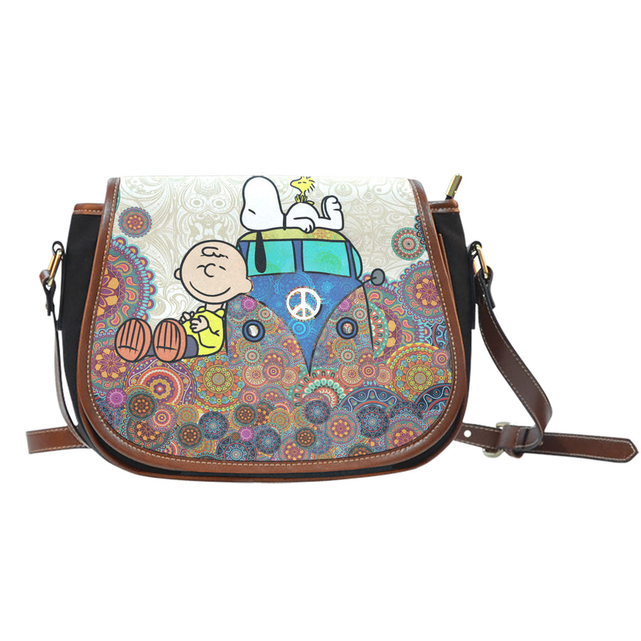 Snoopy on VW Bus Saddle Bag