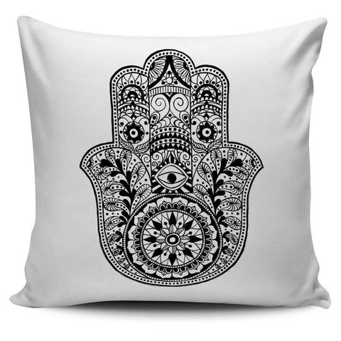 HAMSA HAND WHITE PILLOW COVERS