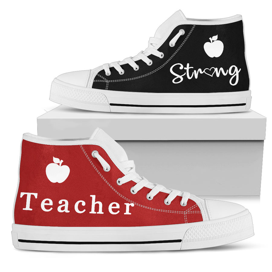 Black & Red Teacher Strong - High Tops