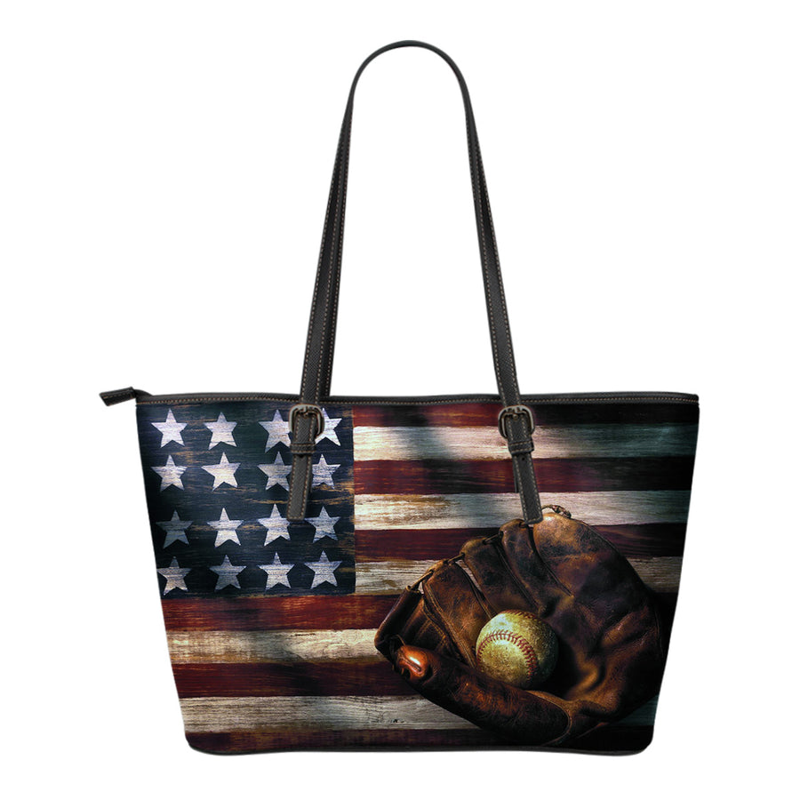 Baseball American Flag Tote Bag