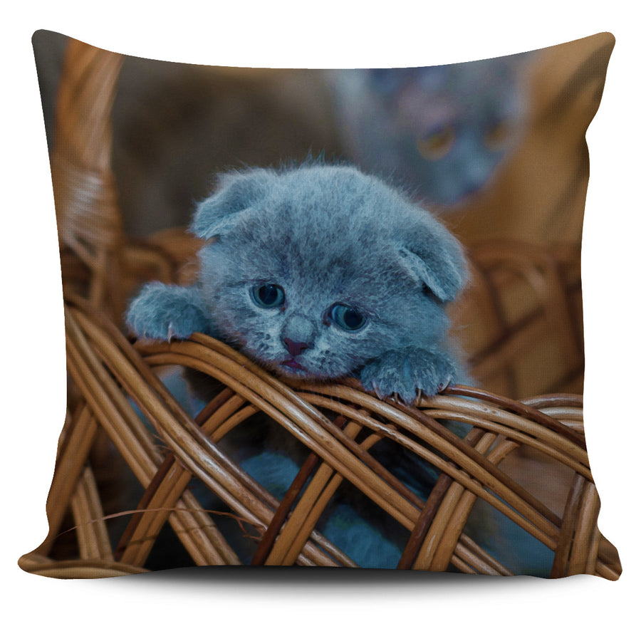 Blue Russian Kitten Watercolor - Pillow Cover