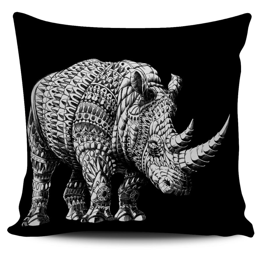 ORNATE RHINO PILLOW COVER - BLACK
