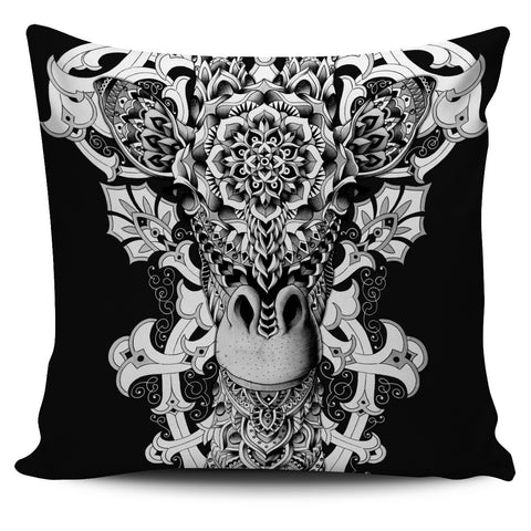 GIRAFFE ORNATE PILLOW COVER - BLACK