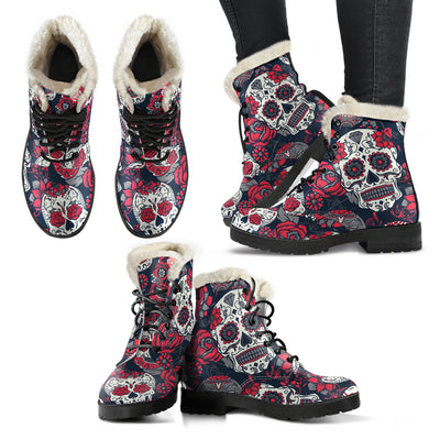 Pink Sugar Skull - Faux Fur Leather Boots