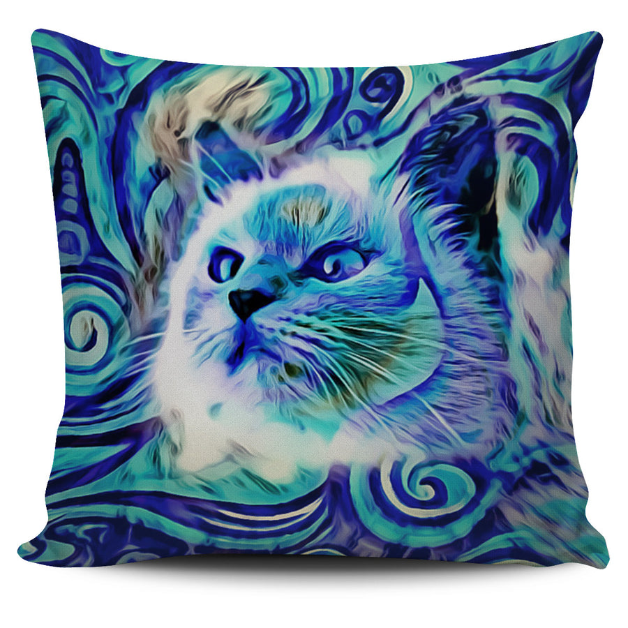 Blue Cat 2 Pillow Cover