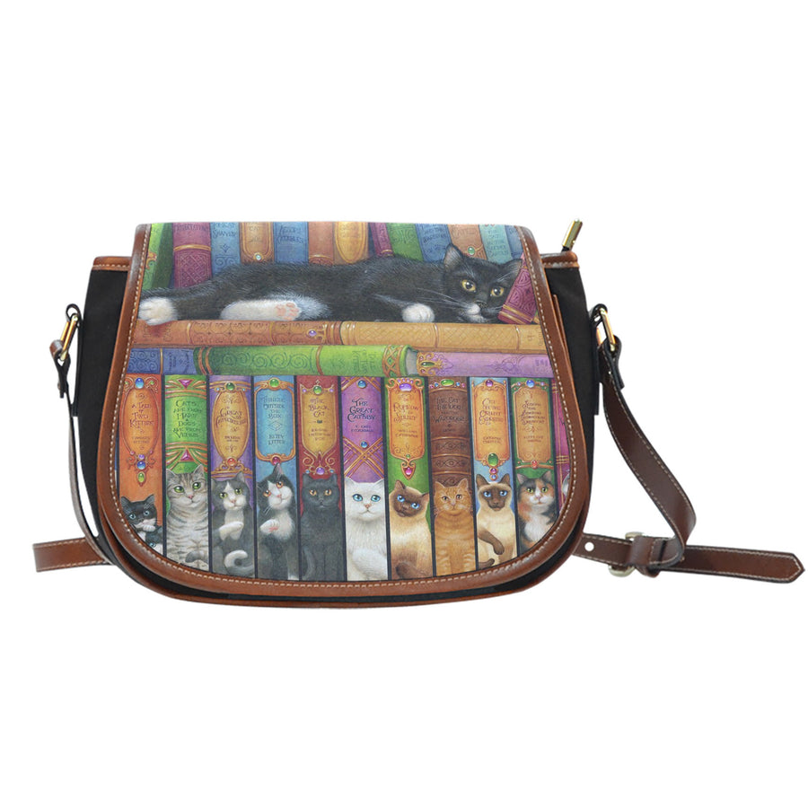 Cat's Bookshelf Saddle Bag