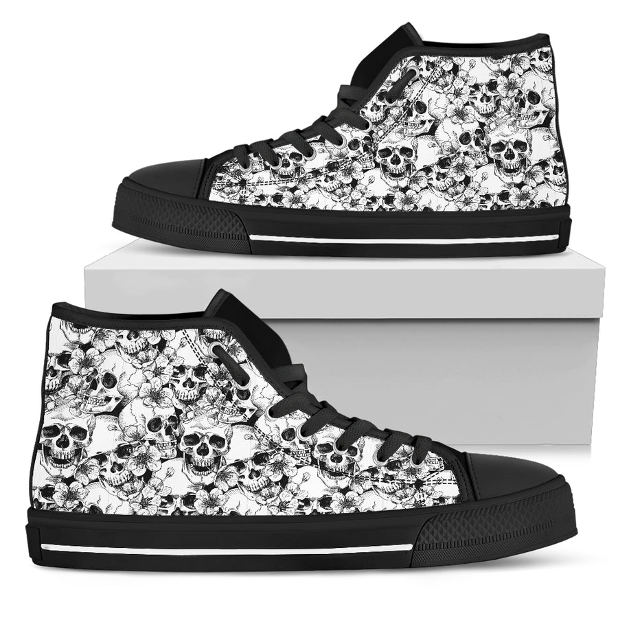 Black and White Skull Pattern - High Tops