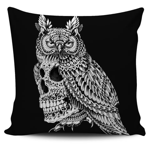 GREAT HORNED SKULL ORNATE PILLOW COVER - BLACK